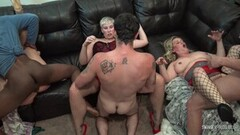 Frisky Hot Swinger Wives Fucking Huge Cocks in Group Sex Orgy Thumb