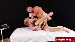 Kinky Inked twink ass barebacked by muscular masseur daddy Thumb