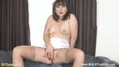 Kinky Brunette in vintage girdle nylons legs open pussy play Thumb