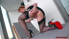 Hot Redhead Office Babe Plays With Her Red Muff Thumb
