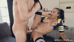 Ebony Anya Ivy gets her pussy crushed by hung Xander Thumb