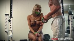 Blonde hottie in fishnets loves anal playtime Thumb
