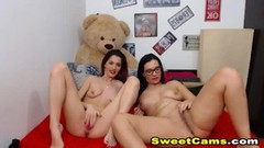 Lesbian Pussy Licking and Strapon Webcam Play Thumb