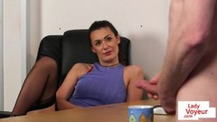 Office domina instructs sub to jerk Thumb