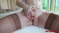 British redhead Red masturbating in front of a window Thumb