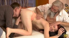 DADDY4K. Cutie receives good punishment from boyfriend and old dad Thumb