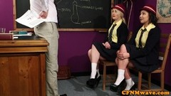 Dominant schoolgirls humiliate naked teacher Thumb
