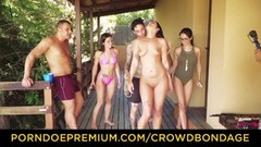 CROWD BONDAGE Outdoor pool sex for sexy Loren Minardi Thumb