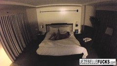 Nude Jezebelle Bond hangs out in her hotel room and plays Thumb