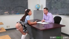 Horny teen Jasmine Summers couldnt resist playing with her pussy in class Thumb