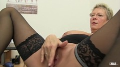 Blonde German granny loves dirty office sex Thumb