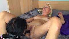 Older Blonde and Teen Lesbian Strapon Fuck Thumb