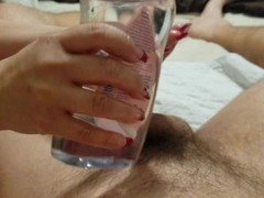 POV huge pierced tit milf gives oily hand job with a huge cum shot Thumb
