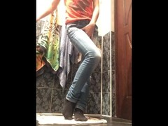 Eli pisses and showers in her tight blue jeans & pantyhose Thumb