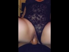 Riding my girlfriend big black strapon with my Latina pussy Thumb