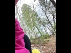 Hiking outdoors first time pissing on cock Thumb