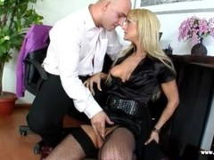 Czech blonde bitch banged over the table Thumb