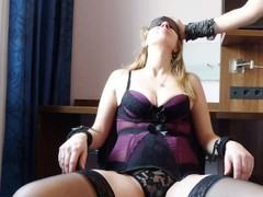 Blindfolded Milf Natural Tits Bound on Chair Sloppy Deepthroat Thumb