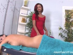 Sexy Skin uses her fingers and mouth to massage Alison Thumb
