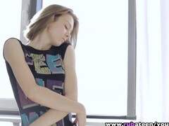 RubATeen - Tall skinny European teen Dunya banged after massage Thumb
