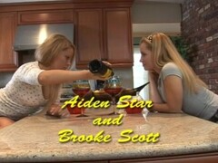 Blondes licking and tribbing on the counter - Kimberly West Productions Thumb