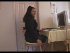 Busty mature brunette secretary in pantyhose Thumb
