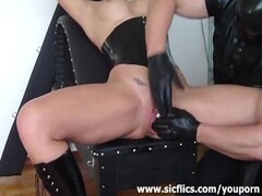 Squirting fisting orgasm for busty bondage babe Thumb
