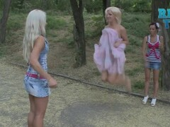 Blonde Loses Her Dress Jumping Rope Thumb