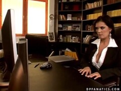 Adorable secretary Jasmine has anal love with two men and they both cum on her huge jugs Thumb