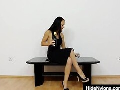 Petite young miss hiding nylon nylons in her piss hole Thumb
