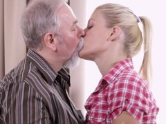 Sexy blonde fucked her boyfriend's old uncle while waiting for him Thumb