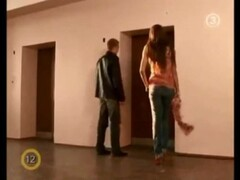 Tall Brunette Stripping In An Elevator Thumb