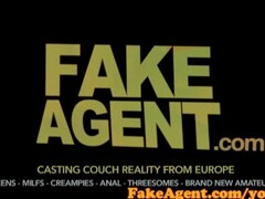 FakeAgent Cute brunette beauty plays hard to get in Casting interview Thumb