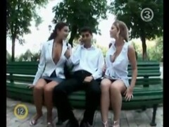 Two Hot Sluts Flashing on a Park Bench Thumb