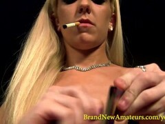 BrandNewAmateurs Halle Von Smoking Match-Lighting Toying and Strumming Plays Guitar and Cums through Panties Thumb