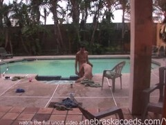 whore sucking two guys dicks in the morning one by the pool other in bed Thumb