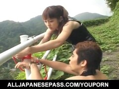 Tomoka Matsunami fucks man in mouth and ass with strap on outdoor Thumb