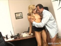 Sexy blonde in glasses sucks cock before getting fucked in the office Thumb