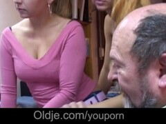 Easy blondes suck old man tongue and lick his hairy ass Thumb