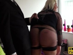 Fat brit subs in fishnets during roughfucking Thumb