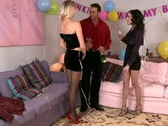 Giving some new year's dick to two chicks at once - DDF Productions Thumb