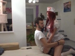 naughty-hotties.net - cute ginger as nurse recover quickie - cum on boobs.mp4 Thumb