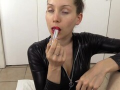 Giving YOU a sloppy saliva lipstick blowjob in my catsuit Thumb