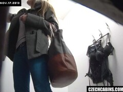 Nice Brunette Changing  her Bra in Public Store Thumb