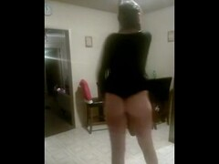 Stripper dancing for you in her kitchen sexy tattooed Brunette Thumb