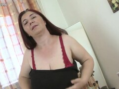 Huge breasted mum playing with her tits and muff Thumb