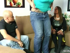 German Big Tit Teen Seduce Couple to Fuck with Her Thumb